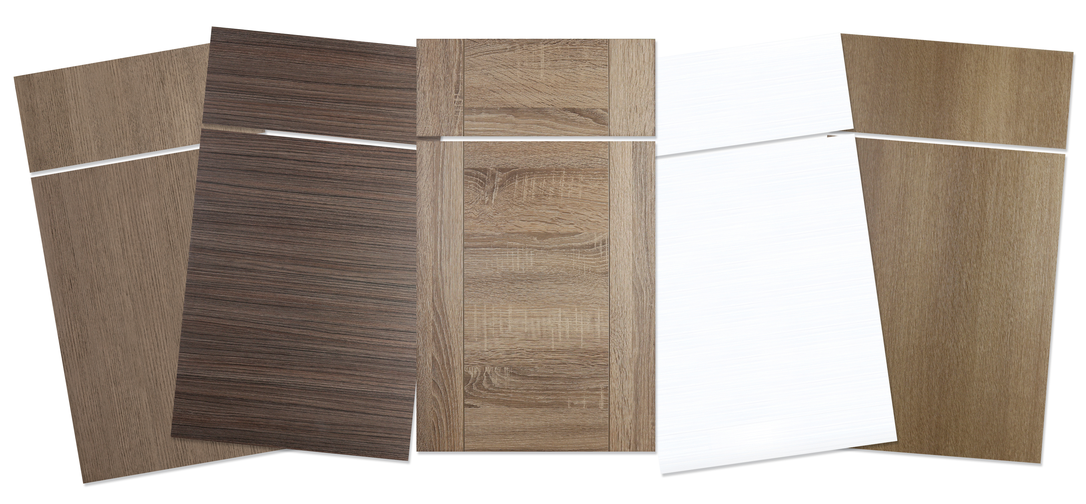 A sample of slab door styles from Dura Supreme Cabinetry.