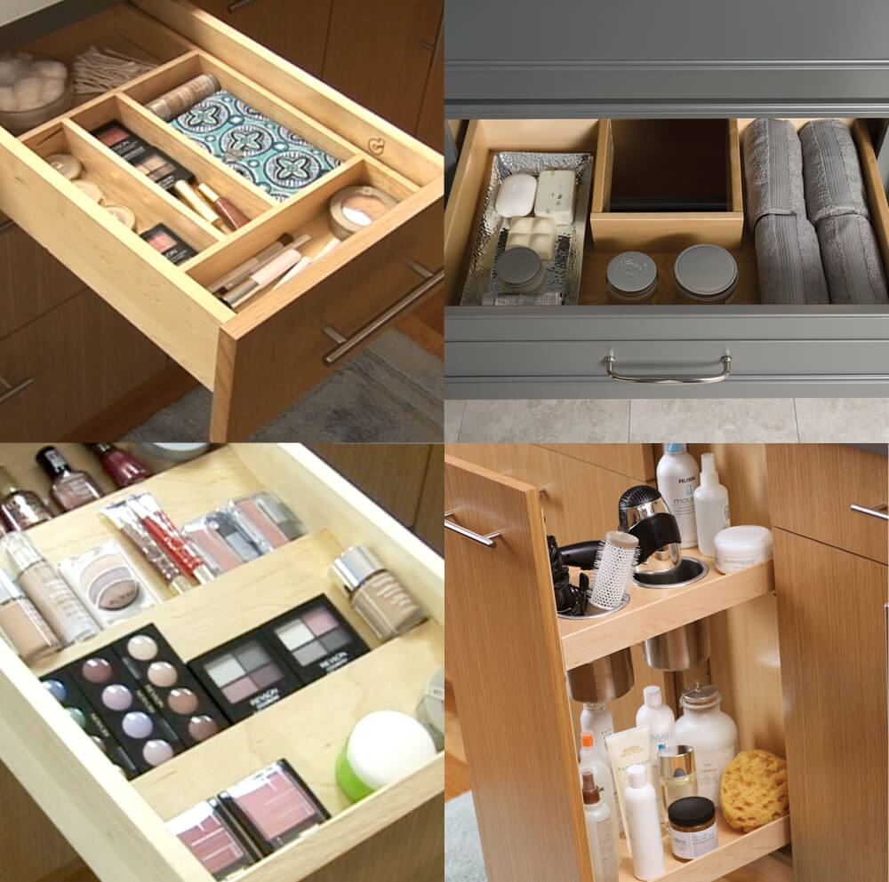 A sampling of bathroom storage options from Dura Supreme Cabinetry