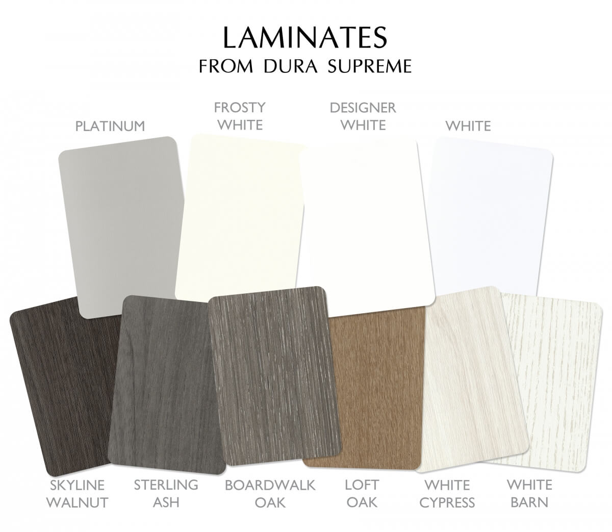 Laminates from Dura Supreme Cabinetry. Solid colos and textured wood grains for Laminate Cabinets.