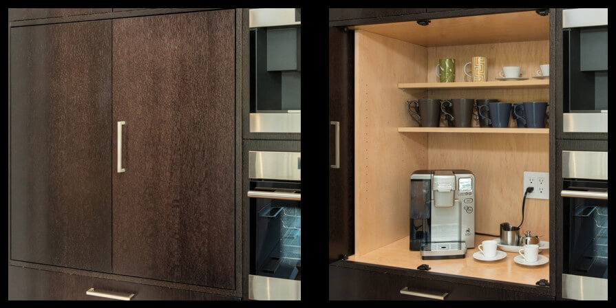 Dura Supreme Cabinetry, beverage cabinet with power inside