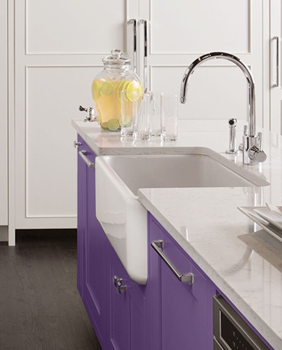 """This Dura Supreme kitchen uses """"Impulsive Purple"""" Personal Paint Match on the kitchen island to create a focal point."""