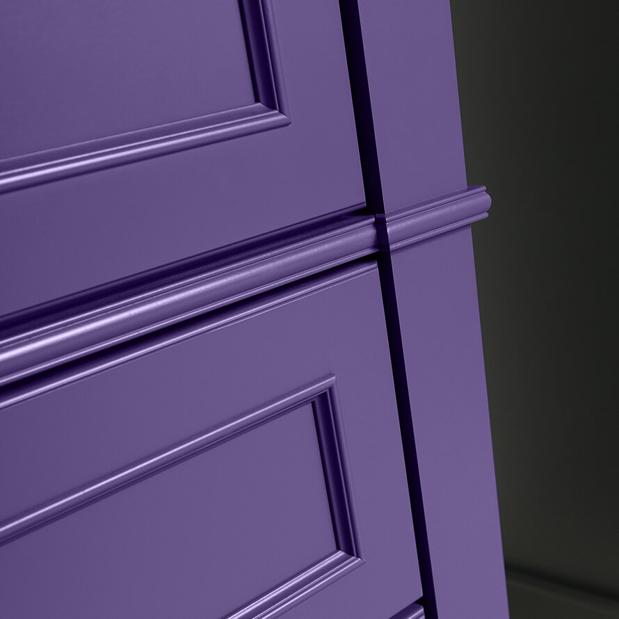 Dura Supreme Cabinetry with a Personal Paint Match finish in African Violet SW 6982.