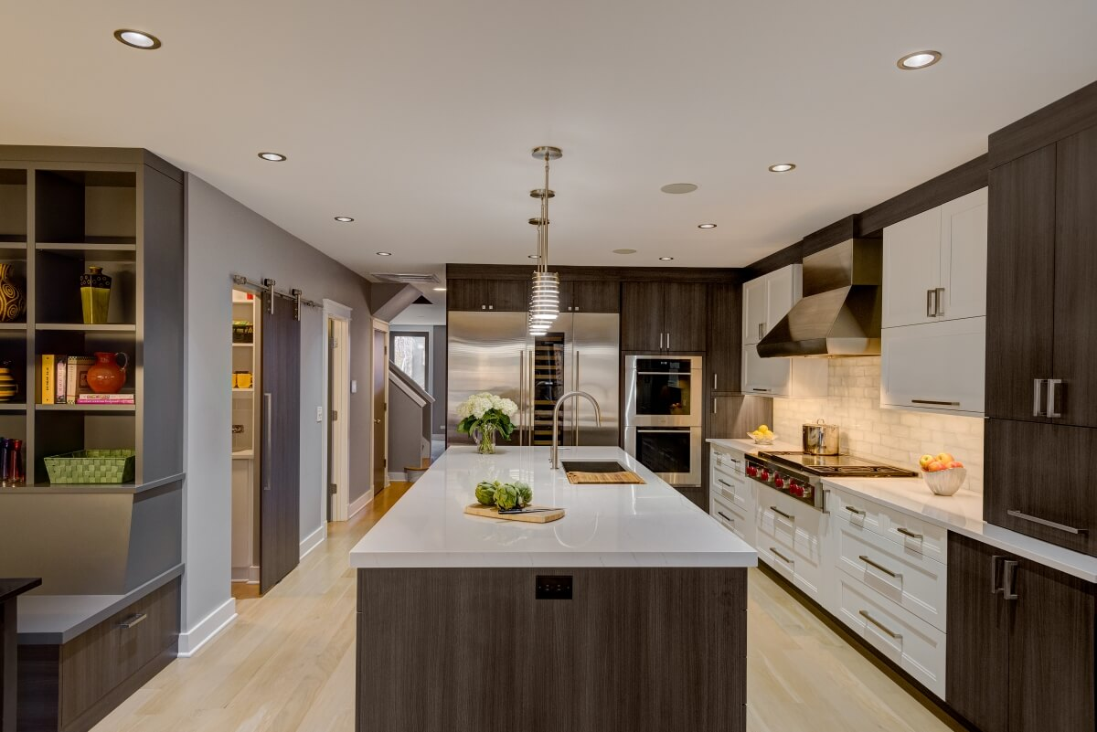 Full view of entire kitchen, Dura Supreme cabinetry. Photography by Dennis Jourdan.