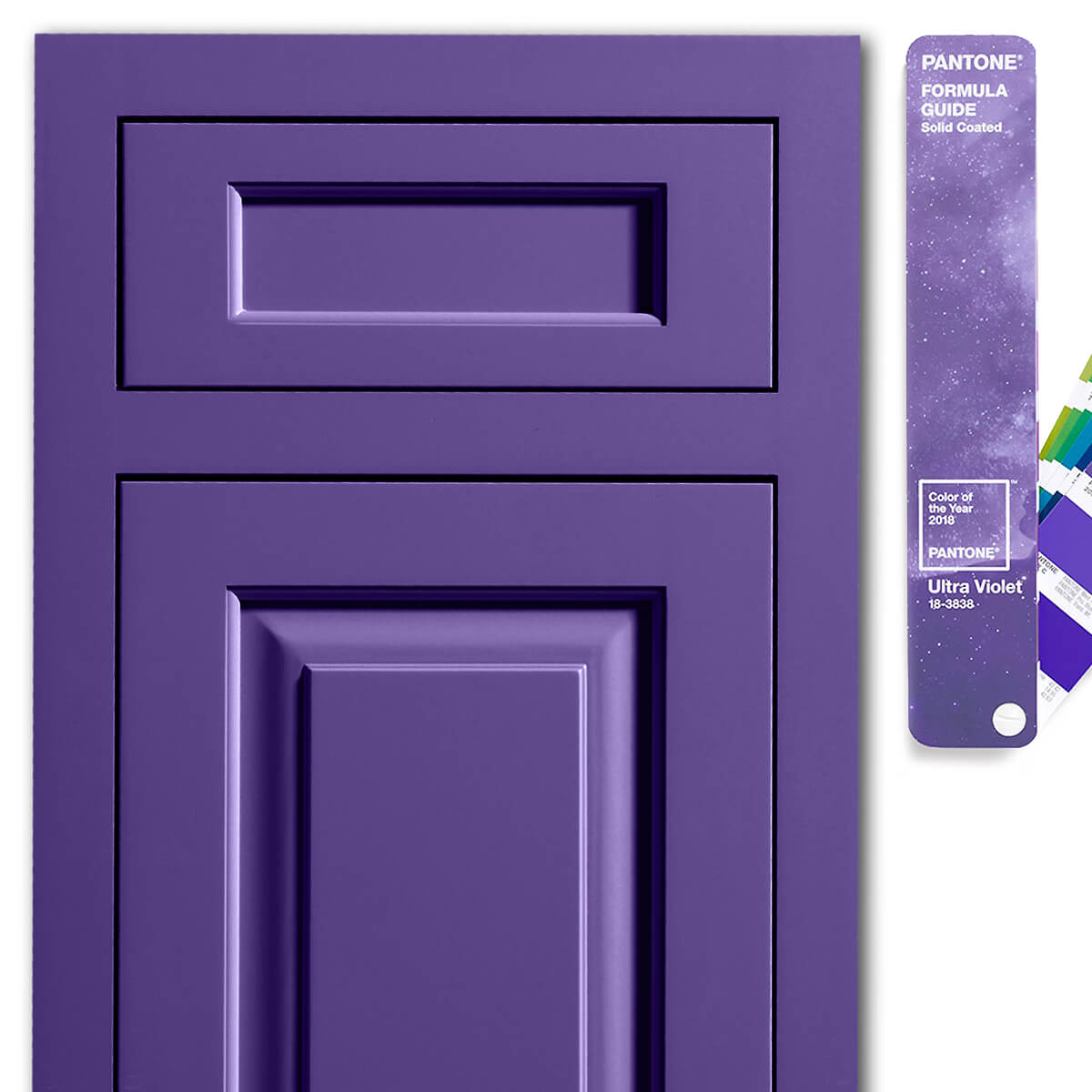 Dura Supreme Kendal inset door style in Custom Finish matched to Ultra Violet Pantone 18-3838.