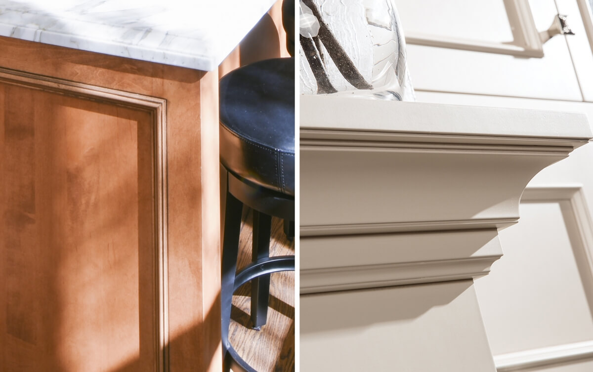 Accent Glaze finishes can be both stained and painted finishes. The left image features the