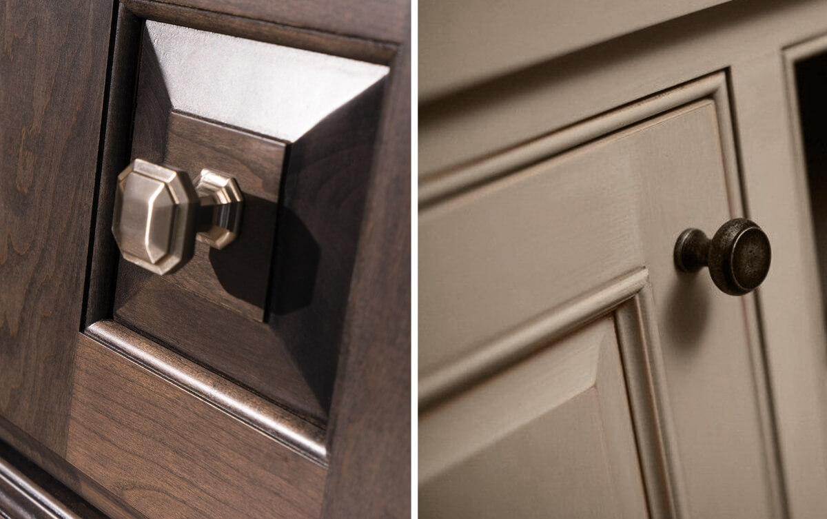 Glaze finishes can be both stained and painted finishes. The left image features the
