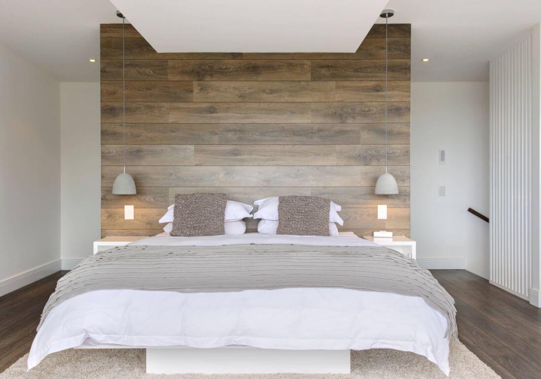 Rustic wood in a modern master bedroom design