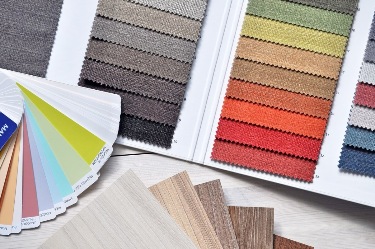 Interior Designer's table with samples.