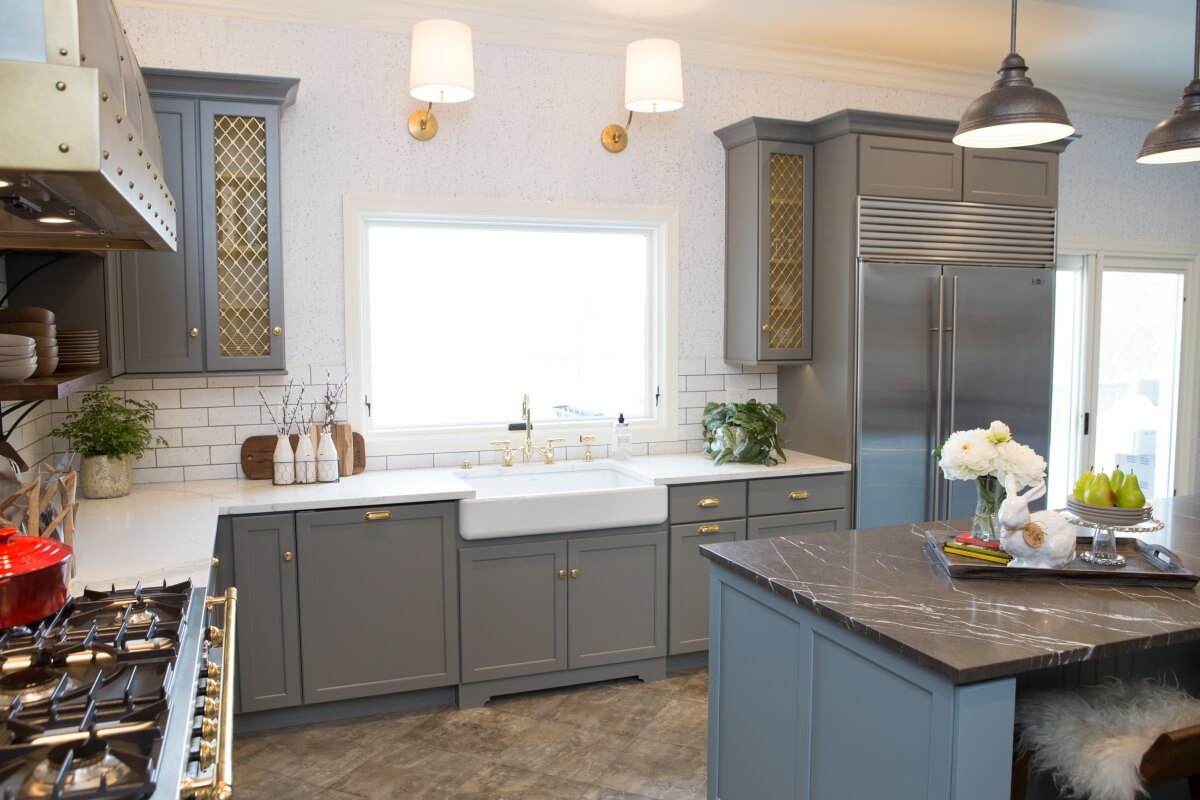 Dura Supreme Cabinetry featuring the Kendall Panel door style in a gray Personal Paint Match finish.