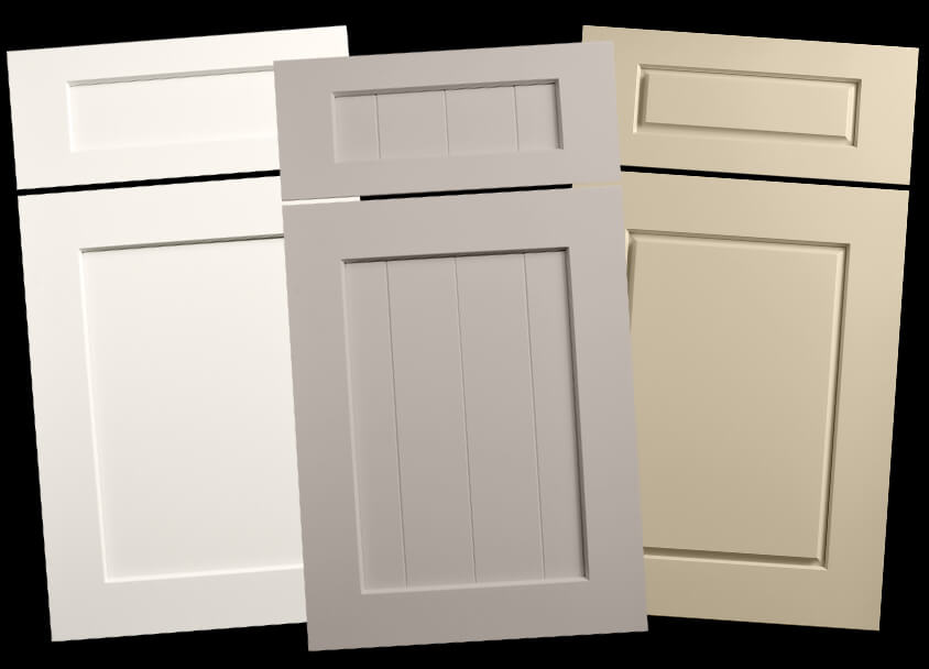 Dura Supreme's Carson door style (left), Carson V-Groove door style (middle), and Chelsea door style (right)