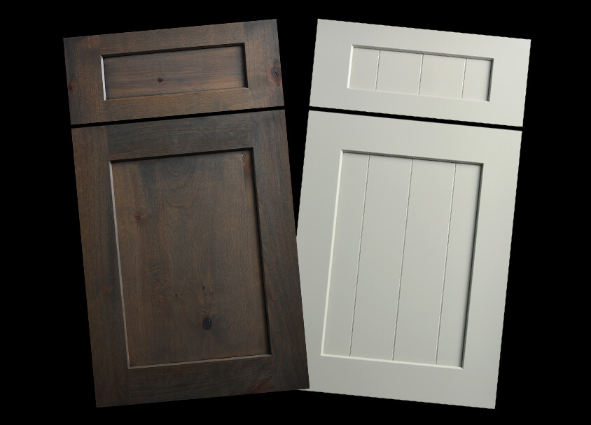 Dura Supreme's Carson door style (left)  and Carson V-Groove door style (right)