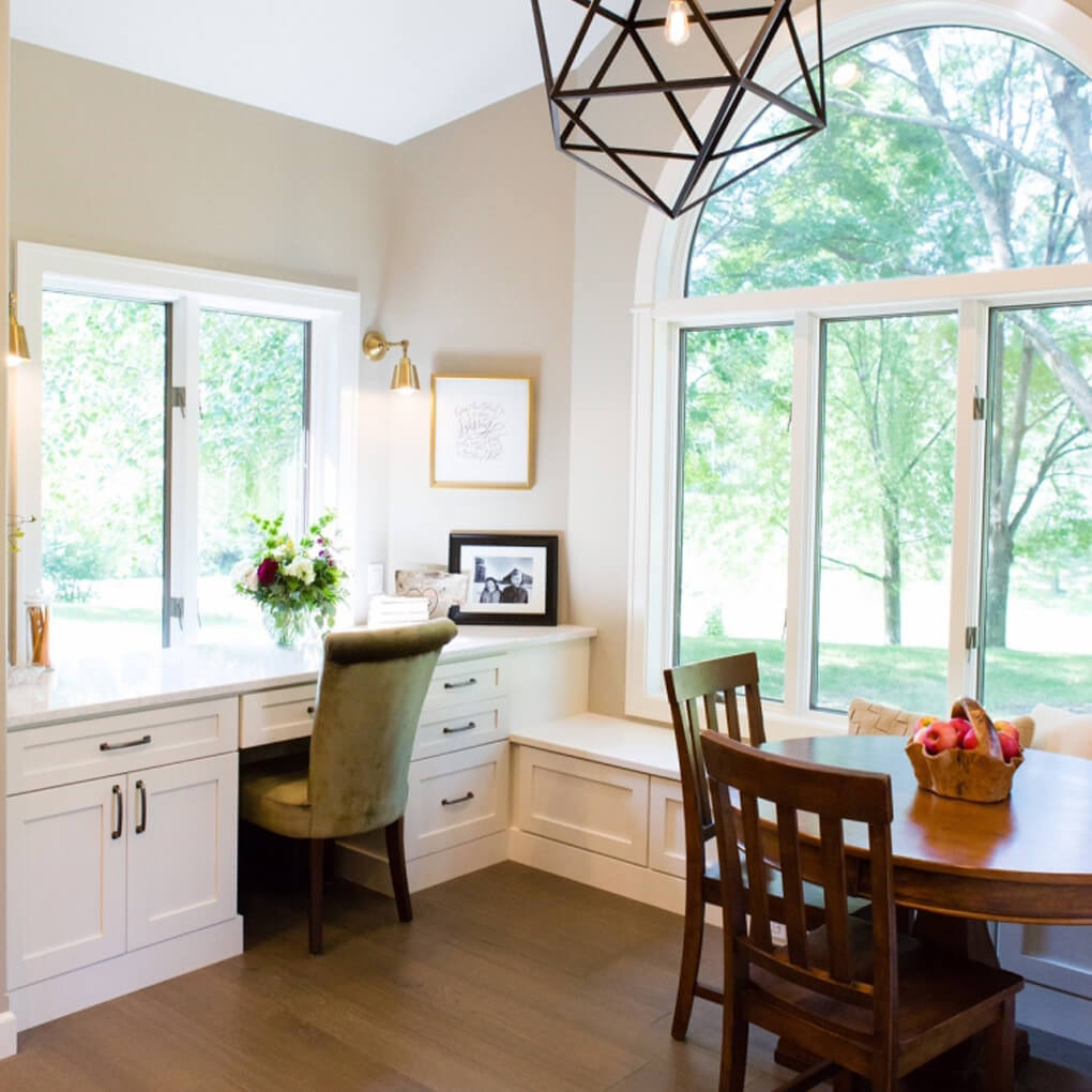 A lovely built-in desk designed by Megan Courtney of Cabinet Style, LLC featuring Dura Supreme Cabinetry.
