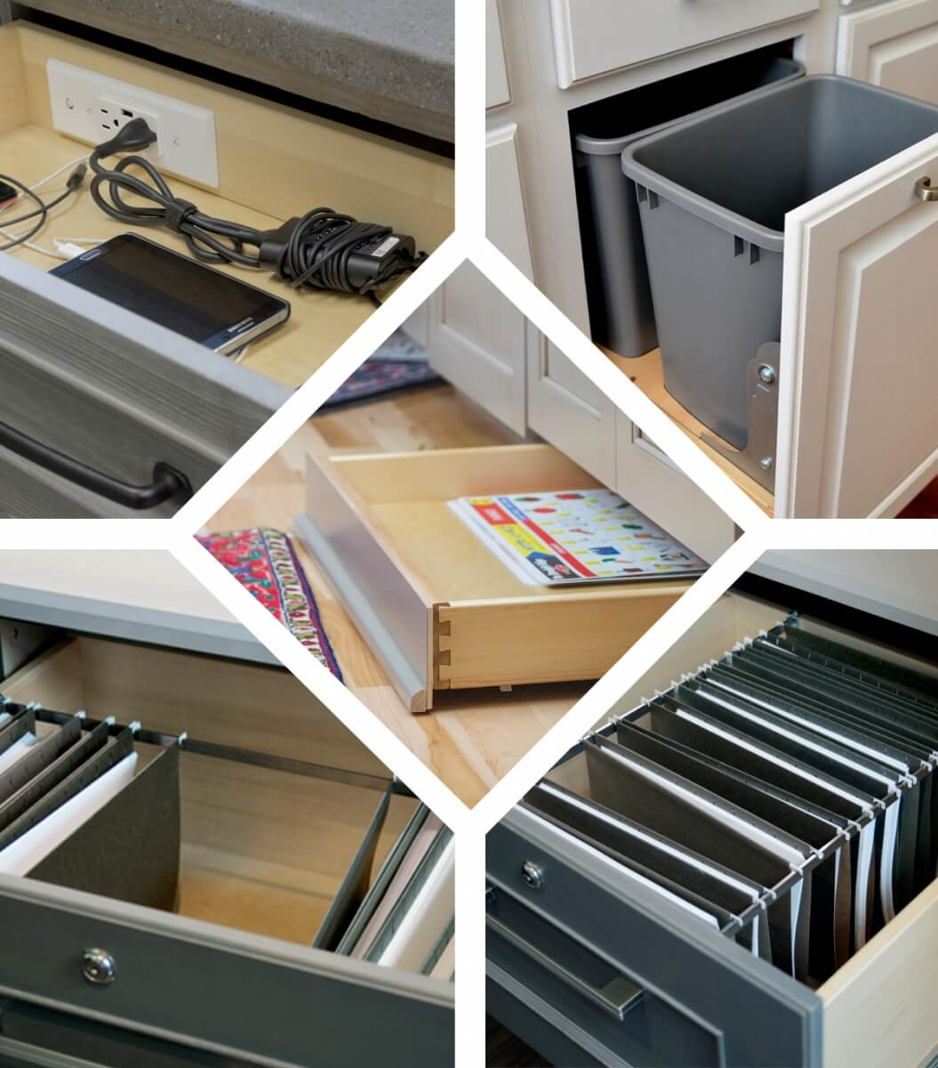 Pictured top left: Tech drawer; top right: base recycle center (Design by Drexel Building Supply); middle: toe kick drawer; bottom righ and left: desk file drawers.