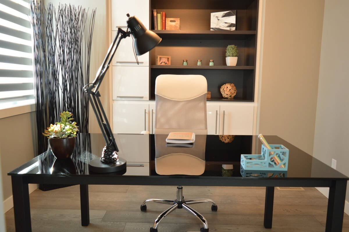 An example of a floating desk featured in a home office.