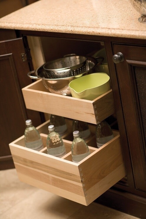 Large Water Bottles in Pull-Out cabinetry by Dura Supreme