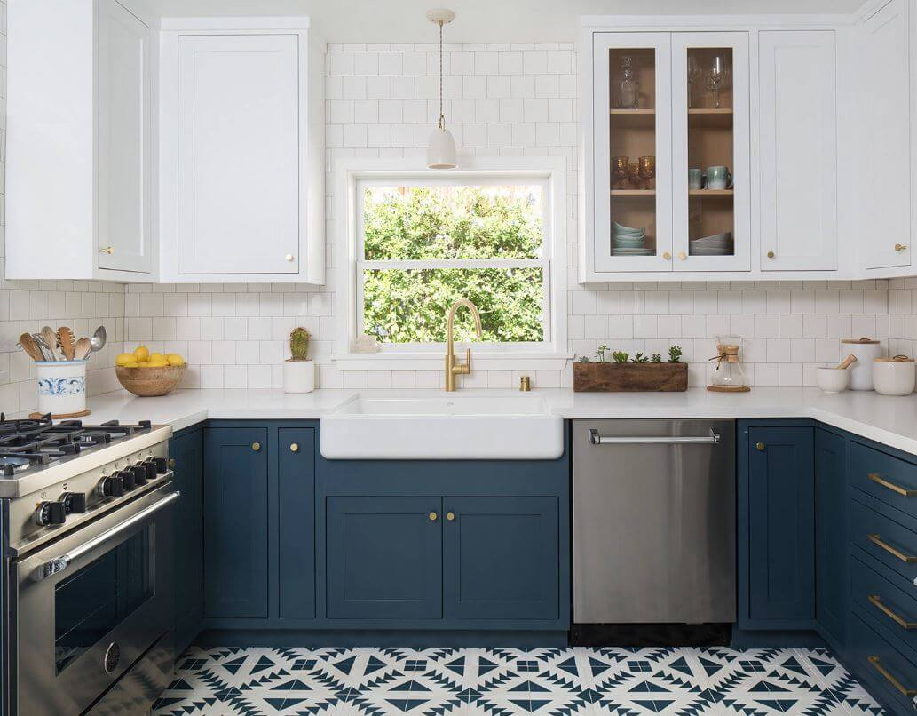Blue Cement Tile Floor, Kelly Martin Interiors, Photography by Meghan Bob Photography