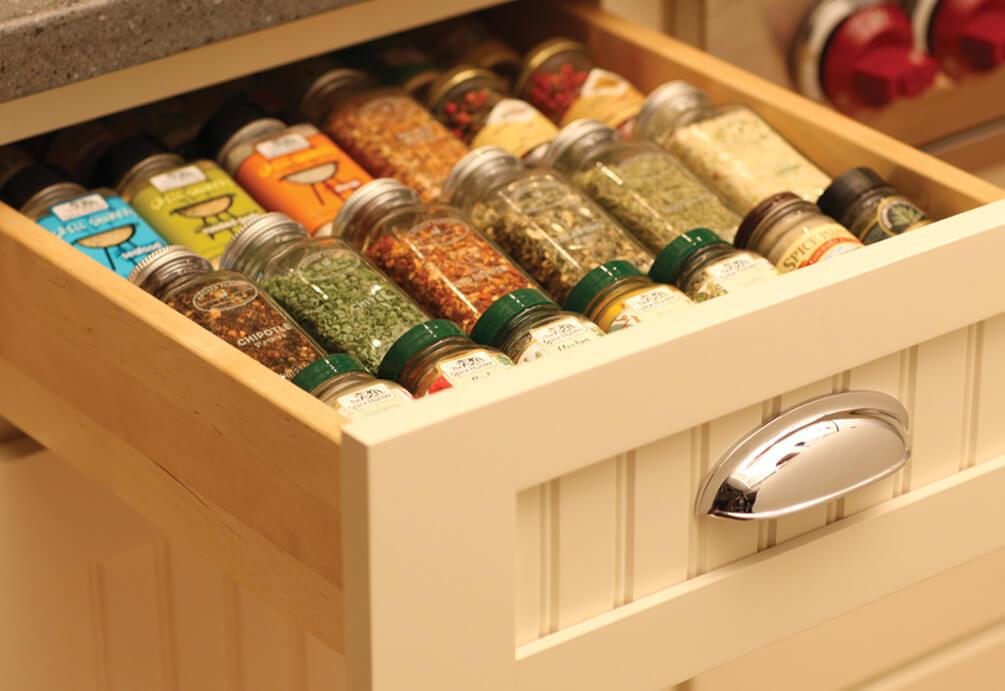 Smart Kitchen Design Genius Ways To, Spice Drawers Kitchen Cabinets