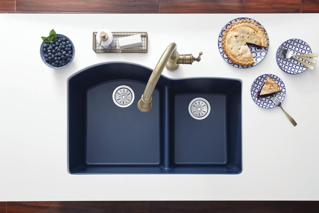 Blue Sink, ElkayQuartz Luxe Offset 60/40 Undermount Sink with Aqua Divide