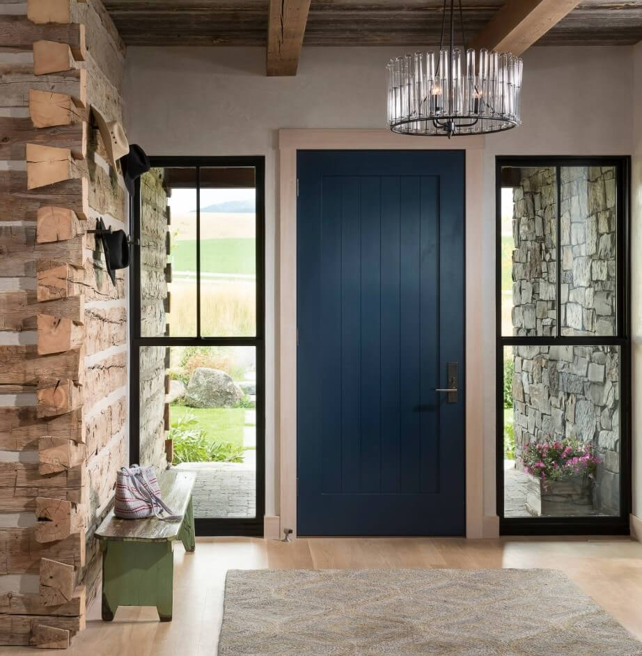 Blue Front Door, Design by North Fork Builders of Montana, Inc., Locati Architects, LongViews Studio.
