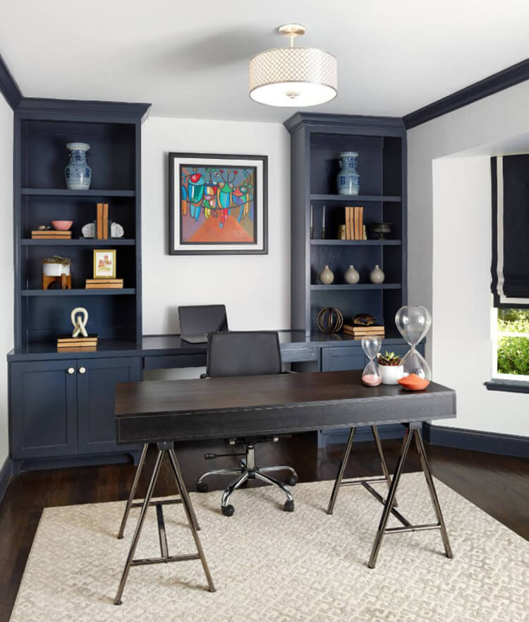 Blue Built-In Bookshelves, By Joseph Aparicio Interiors