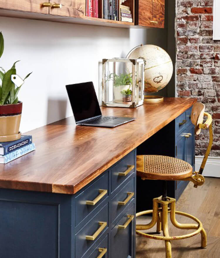 Blue Desk, By Osborne Construction, photography by Heidi's Bridge
