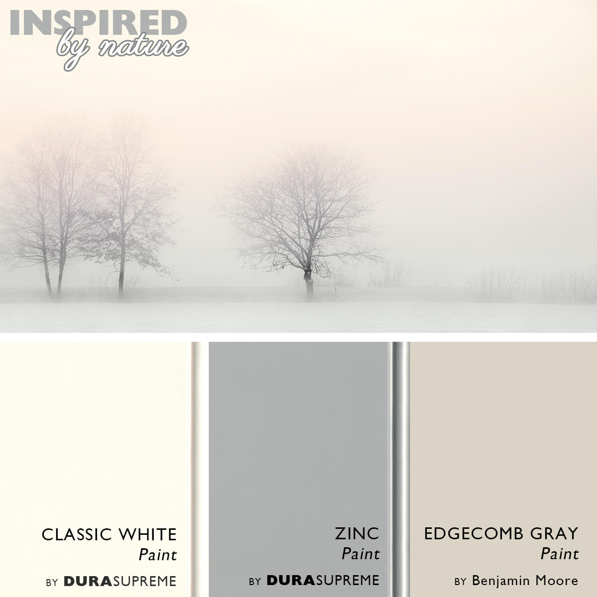 A warm white and gray kitchen color palette inspired by a nature. Warm white and gray cabinet paint colors from Dura Supreme Cabinetry