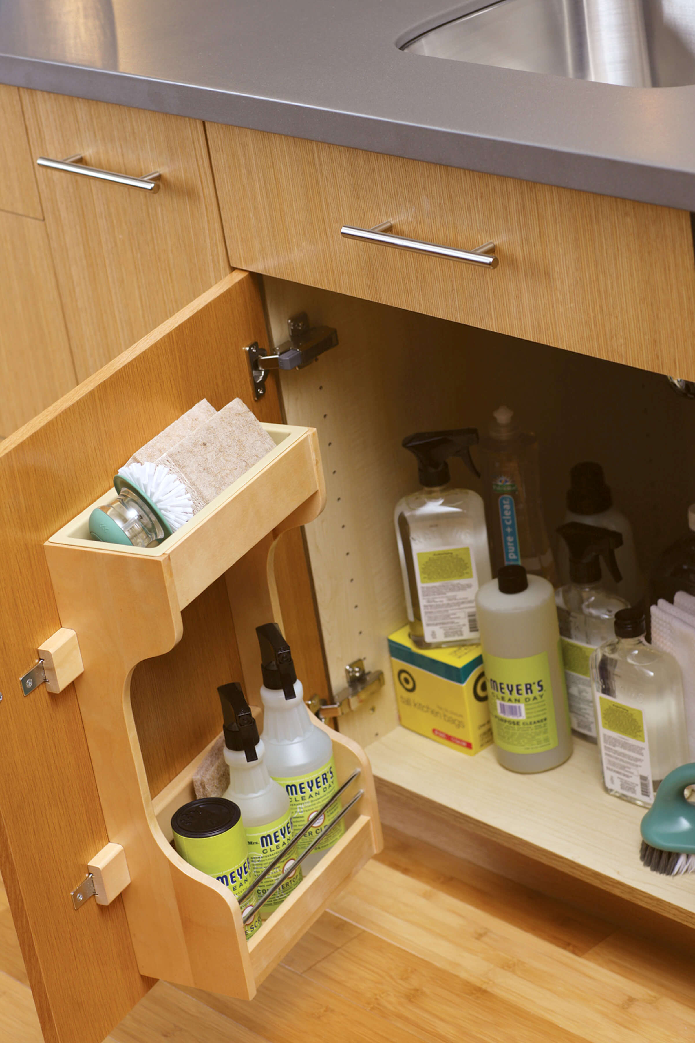 How about a convenient sink base door rack (SBDR) from Dura Supreme Cabinetry for quick access to cleaning supplies you use on a daily basis.