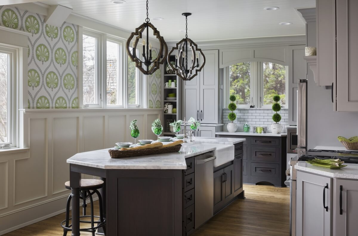 Angled Kitchen Island. Dura Supreme Cabinetry design by Gwen Adair of Cabinet Supreme by Adair. Photo by Ryan Hainey.
