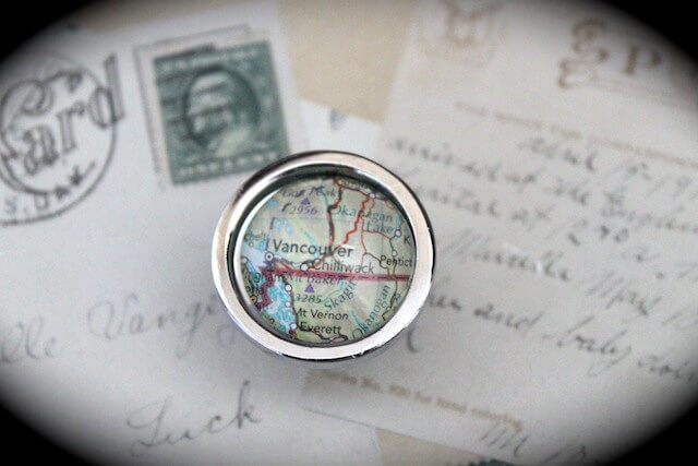 Cabinet Drawer Pull Made From Maps