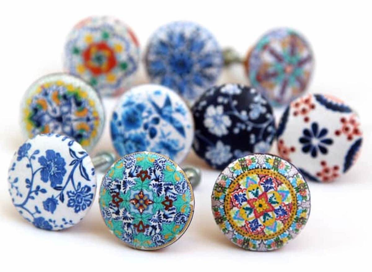 Cabinet Drawer Pulls Made From Decoupage
