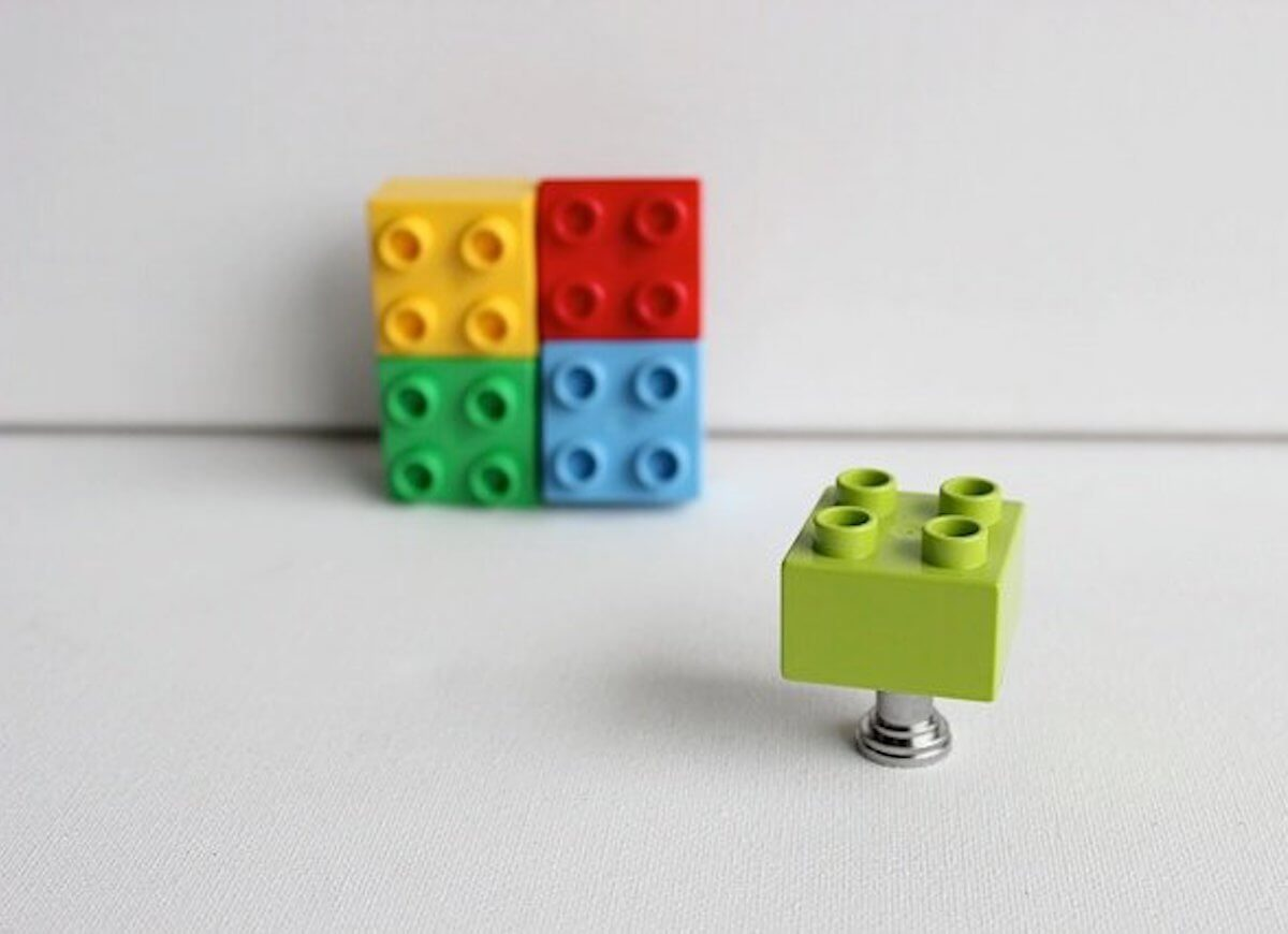 Cabinet Drawer Pull Made From Legos