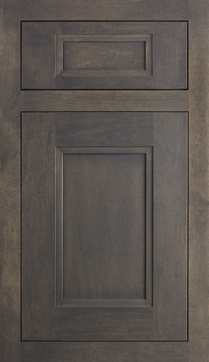 Dura Supreme Cabinetry, Inset Styling with Concealed Hinging in Dempsey Door Style in Shell Gray Finish