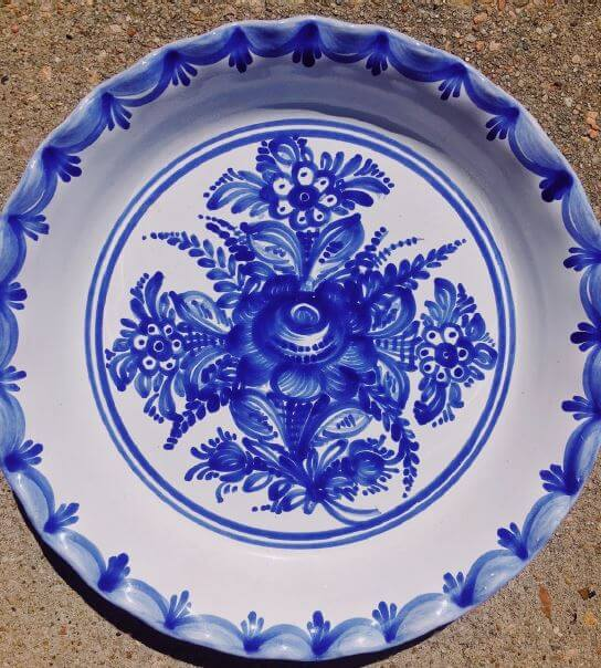 A close up of one of the Czech Republic plates that inspired the color palette for the new kitchen design.