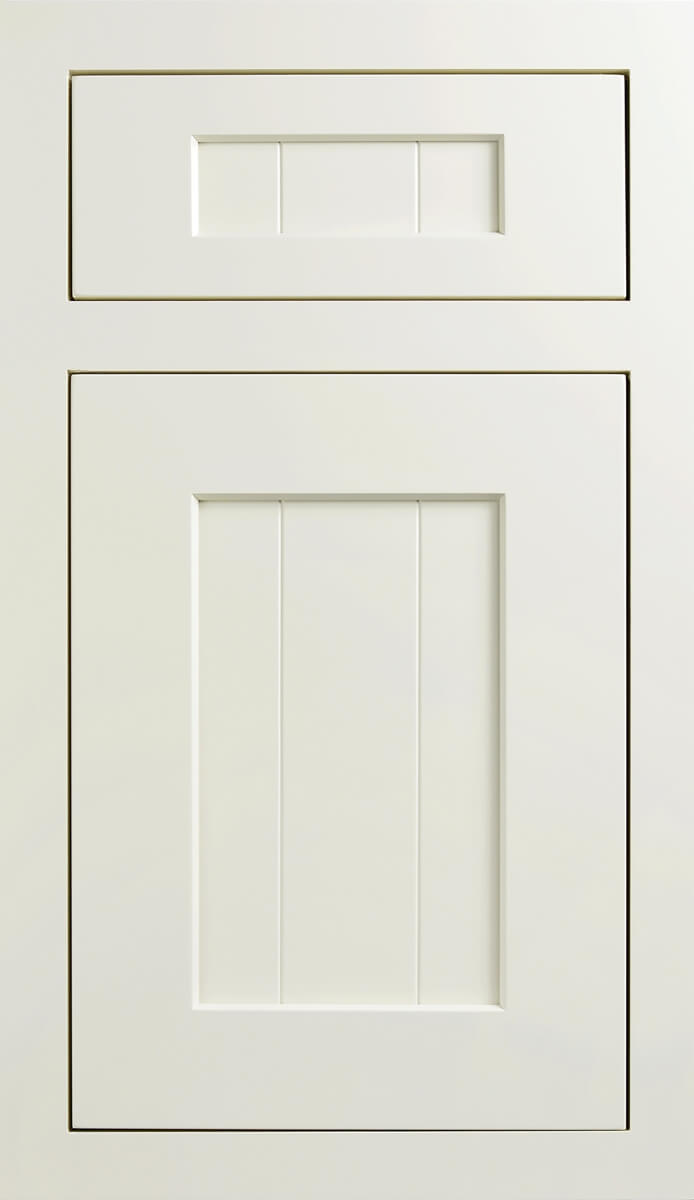 Dura Supreme's Carson V-Groove Door Style in Inset with a Classic White paint finish