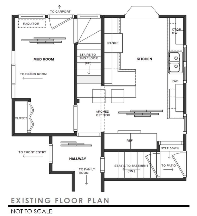 A blueprint of the floor plan to the existing kitchen and entryways before the remodel of the old home.