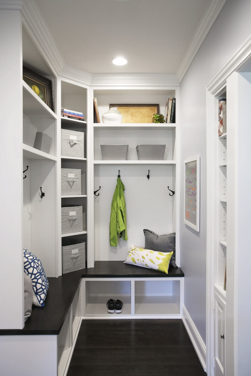 The mudroom was designed to give each family member their own space for their shoes and outdoor gear.