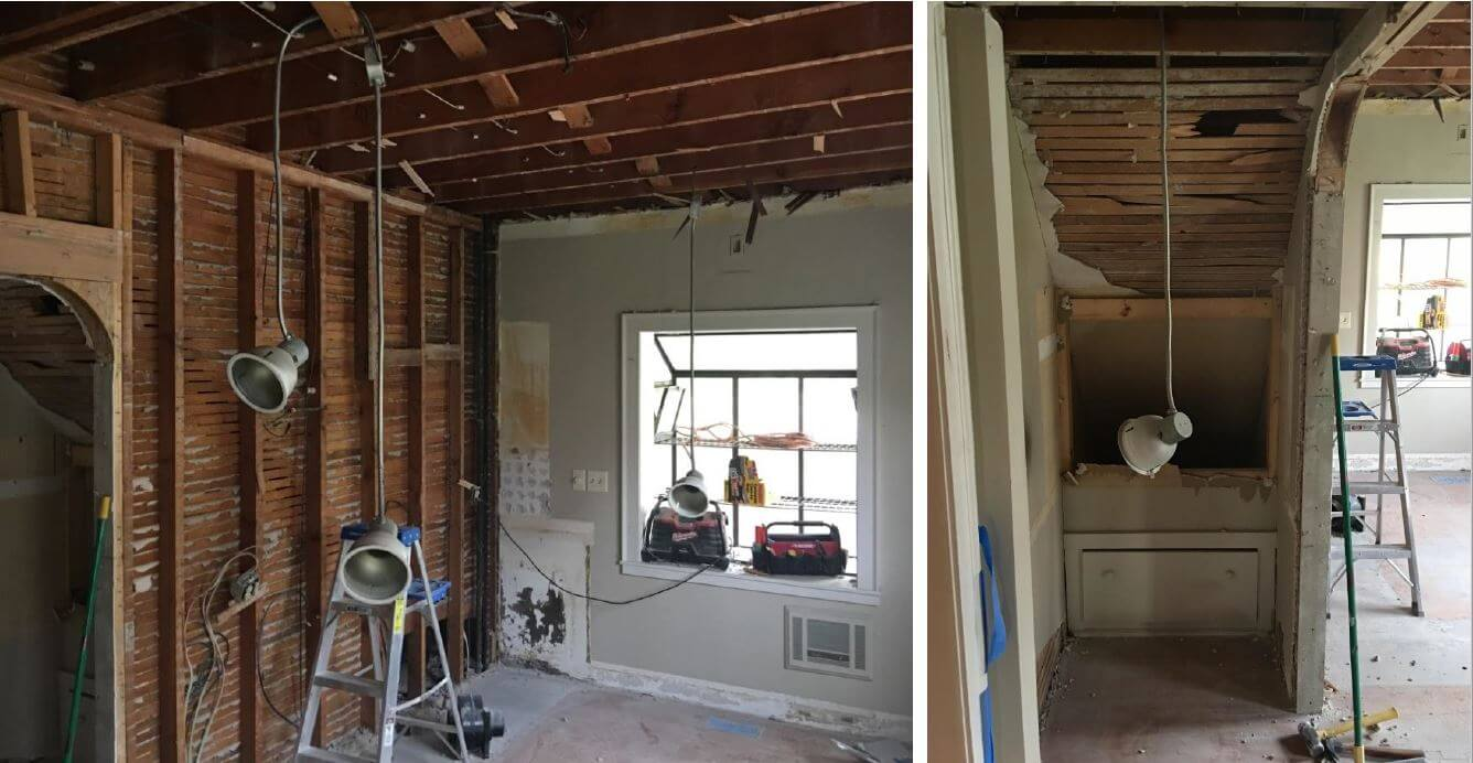 (Left) Pictures the kitchen during renovation before the wall with the secondary staircase and the window were removed. (Right) Shows the back side of the secondary back staircase before it was removed.