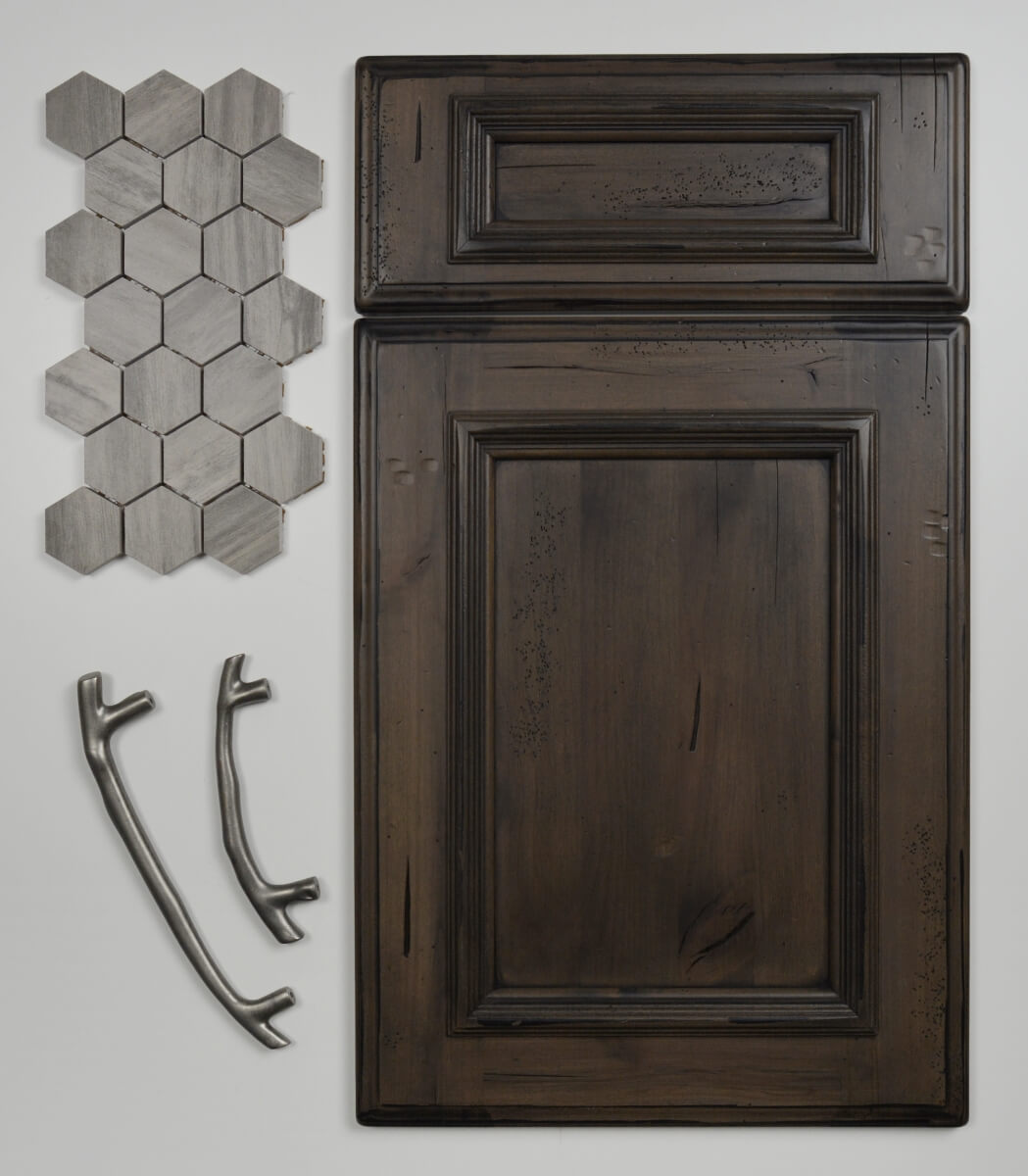 A Mountain Resort inspired design featuring Dura Supreme's St. Augustine Panel door style in the Heavy Heirloom