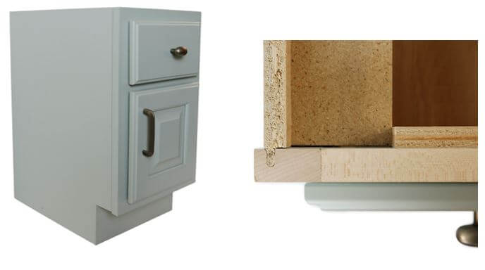 Finished End, not Flush, Cabinet and close-up of joinery, Dura Supreme Cabinetry
