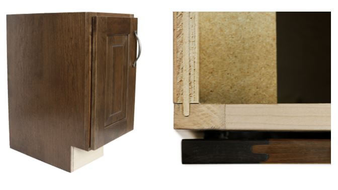Flush Finished End Cabinet and a close-up of joinery, Dura Supreme Cabinetry
