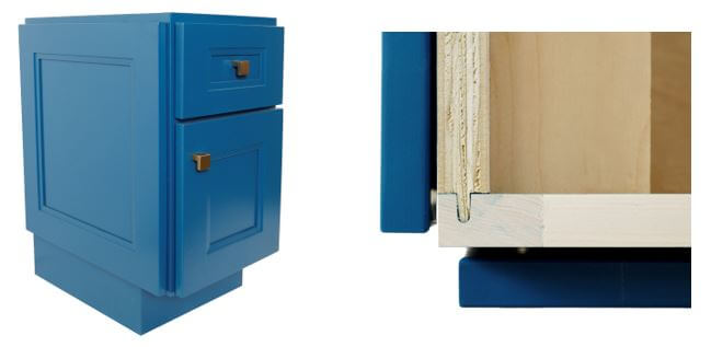 Fixed Door on End plus a close-up of joinery, Dura Supreme Cabinetry
