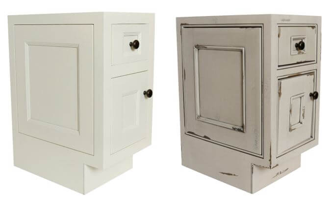 Fixed Door on End Inset, Non-Beaded (left), Beaded (right), Dura Supreme cabinetry
