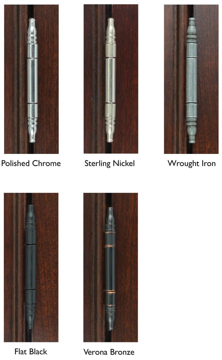 Dura Supreme Cabinetry's decorative barrel hinge finish options.