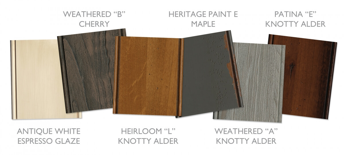 Traditional and rustic cabinet finishes and colors with a Mountain Resort Style from Dura Supreme Cabinetry.