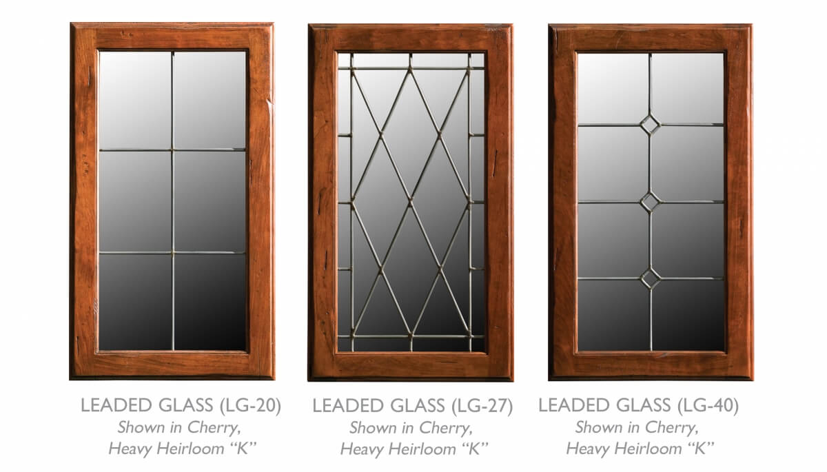 Leaded Glass cabinet doors from Dura Supreme Cabinetry that work well in a rustic styled kitchen design.