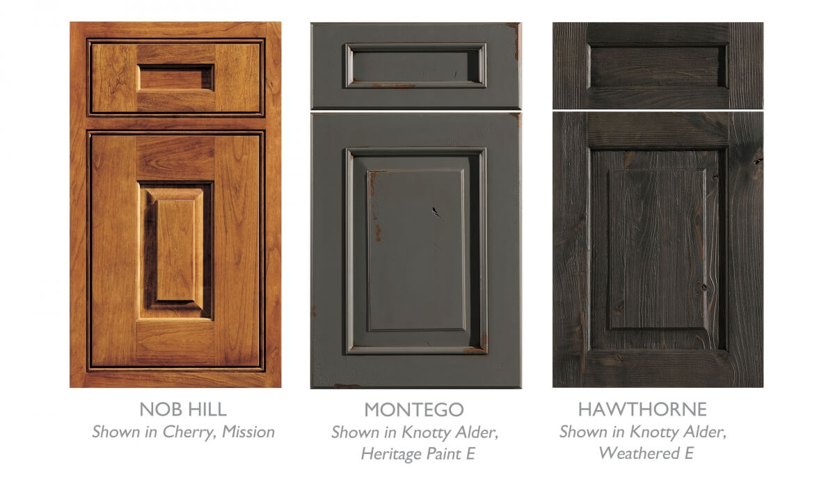 A sample of Mountain Resort style cabinet doors with rustic finish options from Dura Supreme Cabinetry.