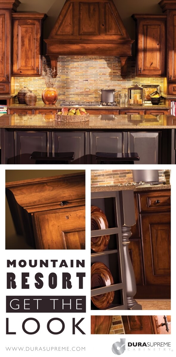 Get the Look - Moutain Resort Style Kitchen Design - Traditional Rustic Styles for kitchen cabinets