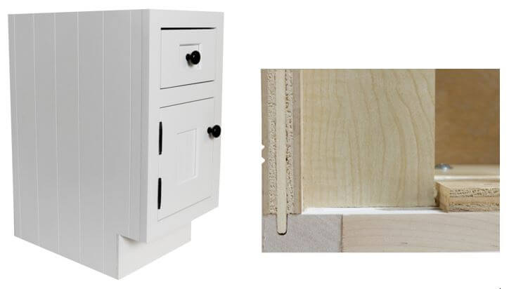 V-Groove End Cabinet and a Close-up of joinery, Dura Supreme cabinetry