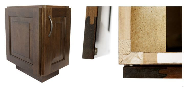 Working Door on End Cabinet and a Close-up of joinery, Dura Supreme cabinetry