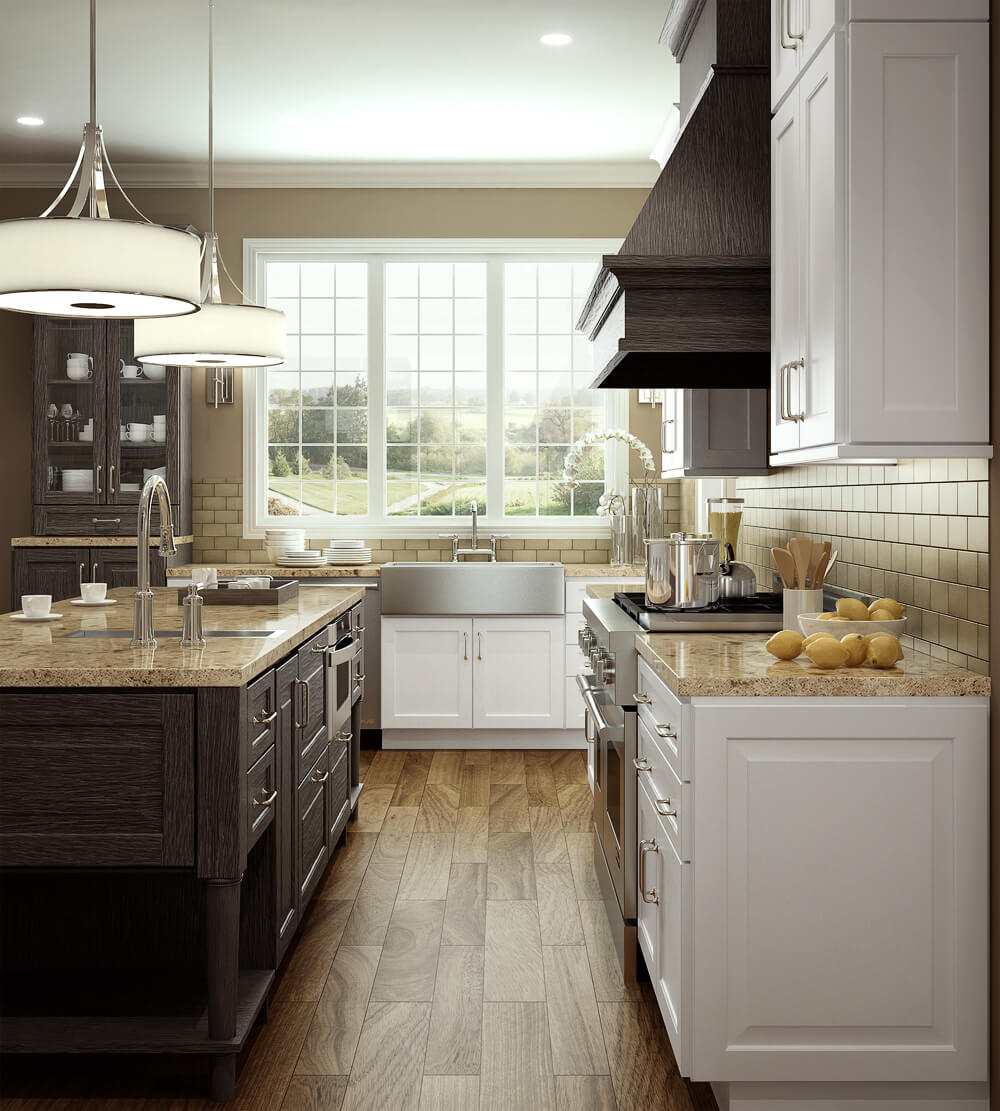 A modern farmhouse style kitchen with white painted kitchen cabinets and weathered wood kitchen island cabinets, wood hood, and accent kitchen cabinets from Dura Supreme Cabinetry.
